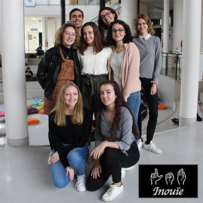 L'équipe de l'association Inouïe qui souhaite initier les étudiants de l'ICES à la LSF