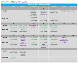 french summer academy program 2020