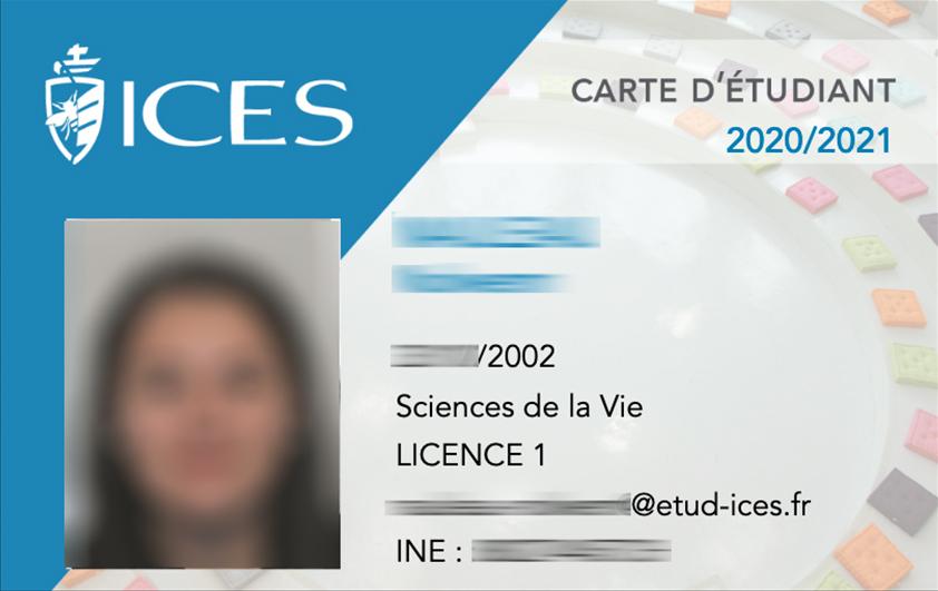 La carte étudiante de l'ICES - recto