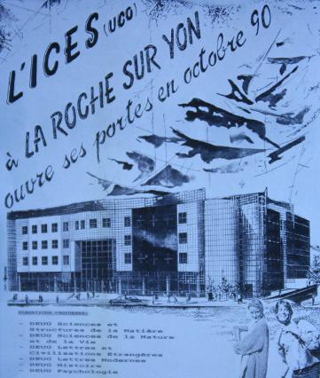 Publicité de l'ICES en 1990 avant la consctruction du bâtiment
