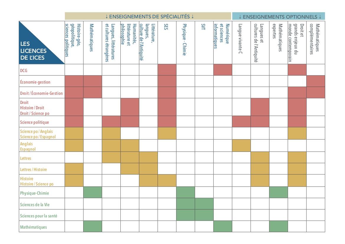Les enseignements de spécialités et optionnels selon les licences proposées à l'ICES