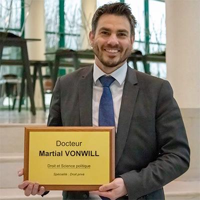 Martial Vonwill : Docteur en Droit et Science politique, spécialité Droit privé